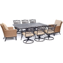 Hanover Traditions 9-Piece Dining Set with 2 Woven Arm Chairs, 6 Swivel Rockers, and a 60