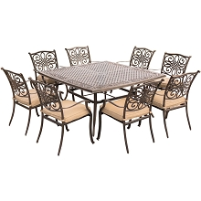 Traditions 9PC Dinning Set with 60 in. Square Table - TRADDN9PCSQ