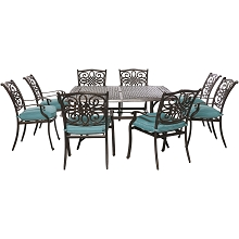 Traditions 9PC Square Dining Set in Blue - TRADDN9PCSQ-BLU