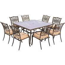 Traditions 9PC Dining Set in Tan with 60 In. Square Glass-Top Dining Table - TRADDN9PCSQG