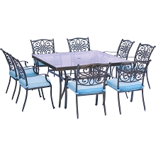 Traditions 9PC Dining Set in Blue with 60 In. Square Glass-Top Dining Table - TRADDN9PCSQG-BLU