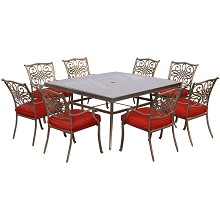 Hanover Traditions 9-Piece Dining Set in Red with 60 In. Square Glass-Top Dining Table - TRADDN9PCSQG-RED