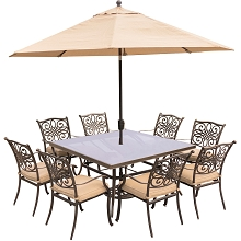 Traditions 9PC Dining Set in Tan with 60 In. Square Glass-Top Table, 11 Ft. Umbrella and Base - TRADDN9PCSQG-SU