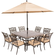 Traditions 9PC Dining Set in Tan with 60 In. Square Cast-Top Table, 11 Ft. Umbrella, and Base - TRADDN9PCSQ-SU