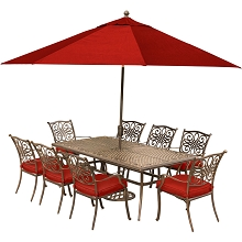 Hanover Traditions 9-Piece Dining Set in Red with an 84 x 41 in. Cast-Top Dining Table, 11 Ft. Table Umbrella and Umbrella Stand - TRADDN9PC-SU-R