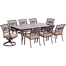 Traditions 9PC Dining Set in Tan with Extra Large Glass-Top Dining Table - TRADDN9PCSW2G