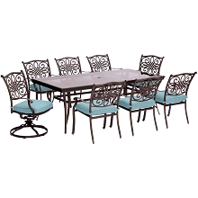 Traditions 9PC Dining Set in Blue with Extra Large Glass-Top Dining Table - TRADDN9PCSW2G-BLU