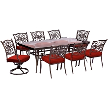 Hanover Traditions 9-Piece Dining Set in Red with Extra Large Glass-Top Dining Table, 2 Swivel Rockers, and 6 Dining Chairs - TRADDN9PCSW2G-RED