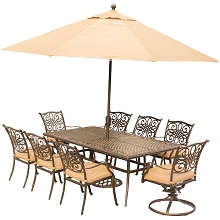 Traditions 9PC Dining Set in Tan with XL Cast-Top Table, 11 Ft. Umbrella, and Base - TRADDN9PCSW2-SU