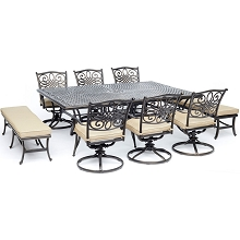 Hanover Traditions 9-Piece Dining Set in Tan with 6 Swivel Chairs, 2 Benches, and a 60