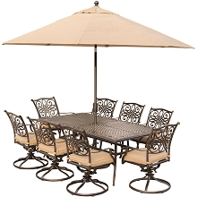 Traditions 9PC Dining Set in Tan with 8 Swivel Rockerss, an XL Dining Table, Umbrella and Stand - TRADDN9PCSW8-SU