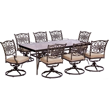 Traditions 9PC Dining Set in Tan with Extra Large Glass-Top Dining Table - TRADDN9PCSWG