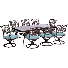 Traditions 9PC Dining Set in Blue with Extra Large Glass-Top Dining Table - TRADDN9PCSWG-BLU
