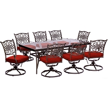 Hanover Traditions 9-Piece Dining Set in Red with Extra Large Glass-Top Dining Table - TRADDN9PCSWG-RED