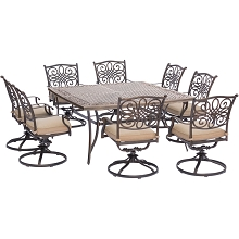 Traditions 9PC Dining Set with Swivel Chairs and 60 in. Square Table - TRADDN9PCSWSQ-8