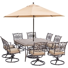 Traditions 9PC Dining Set in Tan with 60 In. Square Cast-Top Table, 11 Ft. Umbrella, and Stand - TRADDN9PCSWSQ8-SU