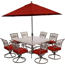 Hanover Traditions 9-Piece Dining Set in Red with a 60 In. Square Cast-Top Dining Table, 11 Ft. Table Umbrella, and an Umbrella Stand - TRADDN9PCSWSQ8-SU-R