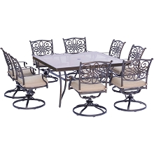 Traditions 9PC Dining Set in Tan with a 60 In. Square Glass-Top Dining Table - TRADDN9PCSWSQG
