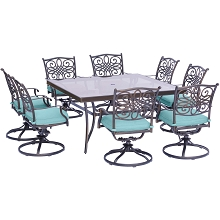 Traditions 9PC Dining Set in Blue with a 60 In. Square Glass-Top Dining Table - TRADDN9PCSWSQG-BLU