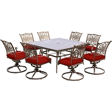 Hanover Traditions 9-Piece Dining Set in Red with a 60 In. Square Glass-Top Dining Table - TRADDN9PCSWSQG-RED