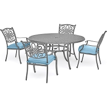 Hanover Traditions 5-Piece Dining Set in Blue with 4 Chairs and a 48