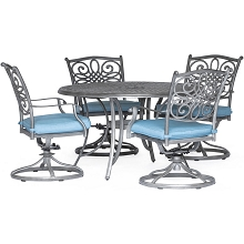 Hanover Traditions 5-Piece Dining Set with 4 Swivel Rockers and a 48 in. Round Table in a Gray Finish - TRADDNG5PCSW4-BLU