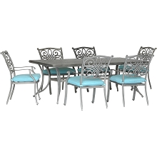 Hanover Traditions 7-Piece Dining Set in Blue with 6 Stationary Chairs and a 38