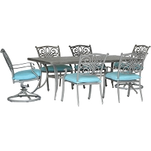 Hanover Traditions 7-Piece Dining Set in Blue with 4 Stationary Chairs, 2 Swivel Rockers and a 38