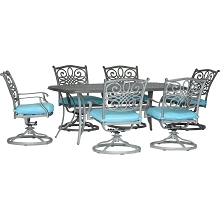 Hanover Traditions 7-Piece Dining Set in Blue with 6 Swivel Rockers and a 38