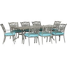 Hanover Traditions 9-Piece Dining Set in Blue with 8 Stationary Chairs and a 42