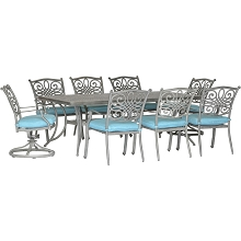 Hanover Traditions 9-Piece Dining Set in Blue with 6 Stationary Chairs, 2 Swivel Rockers and a 42