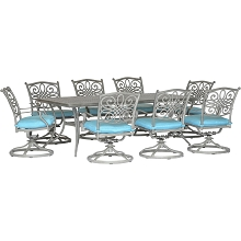 Hanover Traditions 9-Piece Dining Set in Blue with 8 Swivel Rockers and a 42