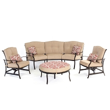 Traditions 4PC Seating Set with Reversible Ottoman and Accent Pillows - TRADITIONS4PC-BRY
