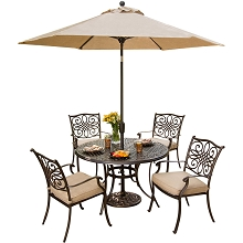 Traditions 5PC Dining Set with Umbrella - TRADITIONS5PC-SU