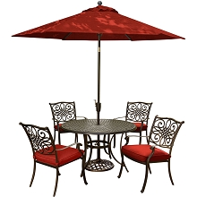 Hanover Traditions 5-Piece Dining Set in Red with 9-Ft. Table Umbrella and Stand - TRADITIONS5PC-SU-R