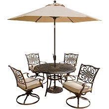 Traditions 5PC Dining Set with Swivel Chairs and Umbrella - TRADITIONS5PCSW-SU
