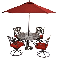 Hanover Traditions 5-Piece Dining Set in Red with Four Swivel Rockers, 48 Cast-top Table, 9 Ft. Umbrella and Stand - TRADITIONS5PCSW-SU-R