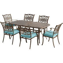 Traditions 7PC Outdoor Dining Set in Blue - TRADITIONS7PC-BLU