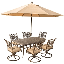 Traditions 7PC Dining Set in Tan with 72 x 38 in. Table, 9 Ft. Umbrella, and Stand - TRADITIONS7PCSW6-SU