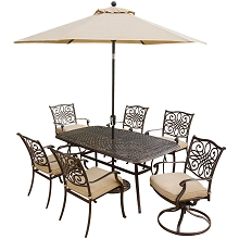Traditions 7PC Dining Set w/Umbrella - TRADITIONS7PCSW-SU