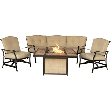 Traditions 4PC Chat Set with a Tile-Top Fire Pit - TRADTILE4PCFP