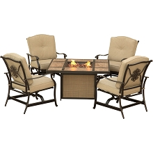 Traditions 5PC Chat Set with a Tile-Top Fire Pit - TRADTILE5PCFP