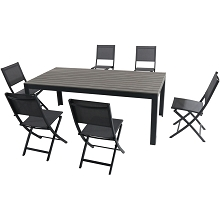 Hanover Tucson 7-Piece Dining Set with 6 Sling Folding Chairs and a Faux Wood Dining Table - TUCSDN7PCFD-GRY