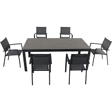 Hanover Tucson 7-Piece Dining Set with 6 Sling Arm Chairs and a Faux Wood Dining Table - TUCSDN7PC-GRY