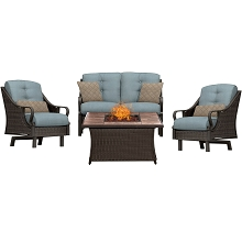 Ventura 4PC Fire Pit Chat Set with Tan Porcelain Tile Top in Ocean Blue - VEN4PCFP-BLU-TN