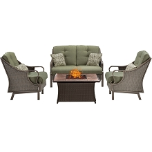 Ventura 4PC Fire Pit Chat Set with Tan Porcelain Tile Top in Vintage Meadow - VEN4PCFP-GRN-TN