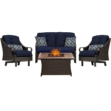Ventura 4PC Fire Pit Chat Set with Tan Porcelain Tile Top in Navy Blue - VEN4PCFP-NVY-TN