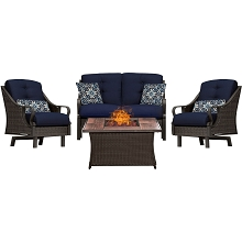 Ventura 4PC Fire Pit Chat Set with Wood Grain Tile Top in Navy Blue - VEN4PCFP-NVY-WG