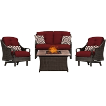 Ventura 4PC Fire Pit Chat Set with Tan Porcelain Tile Top in Crimson Red - VEN4PCFP-RED-TN