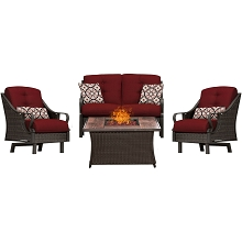 Ventura 4PC Fire Pit Chat Set with Wood Grain Tile Top in Crimson Red - VEN4PCFP-RED-WG